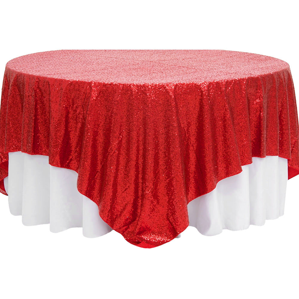 "Glitz Sequin Table Overlay Topper 90""x90"" Square - Red"