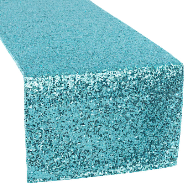 Glitz Sequin Table Runner Turquoise Cv Linens