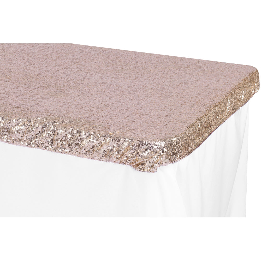 Glitz Sequin Table Topper/Cap 6 FT Rectangular - Blush