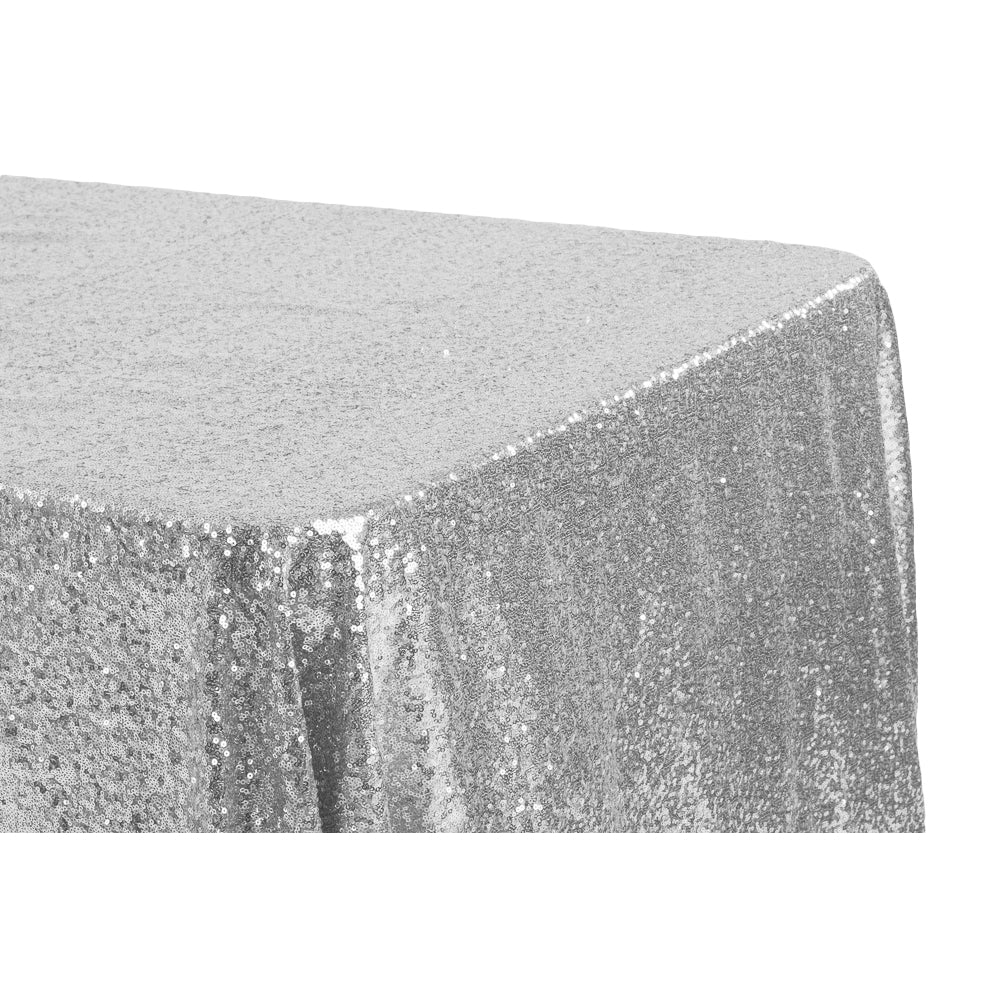 "Glitz Sequin 90""x132"" Rectangular Tablecloth - Silver"
