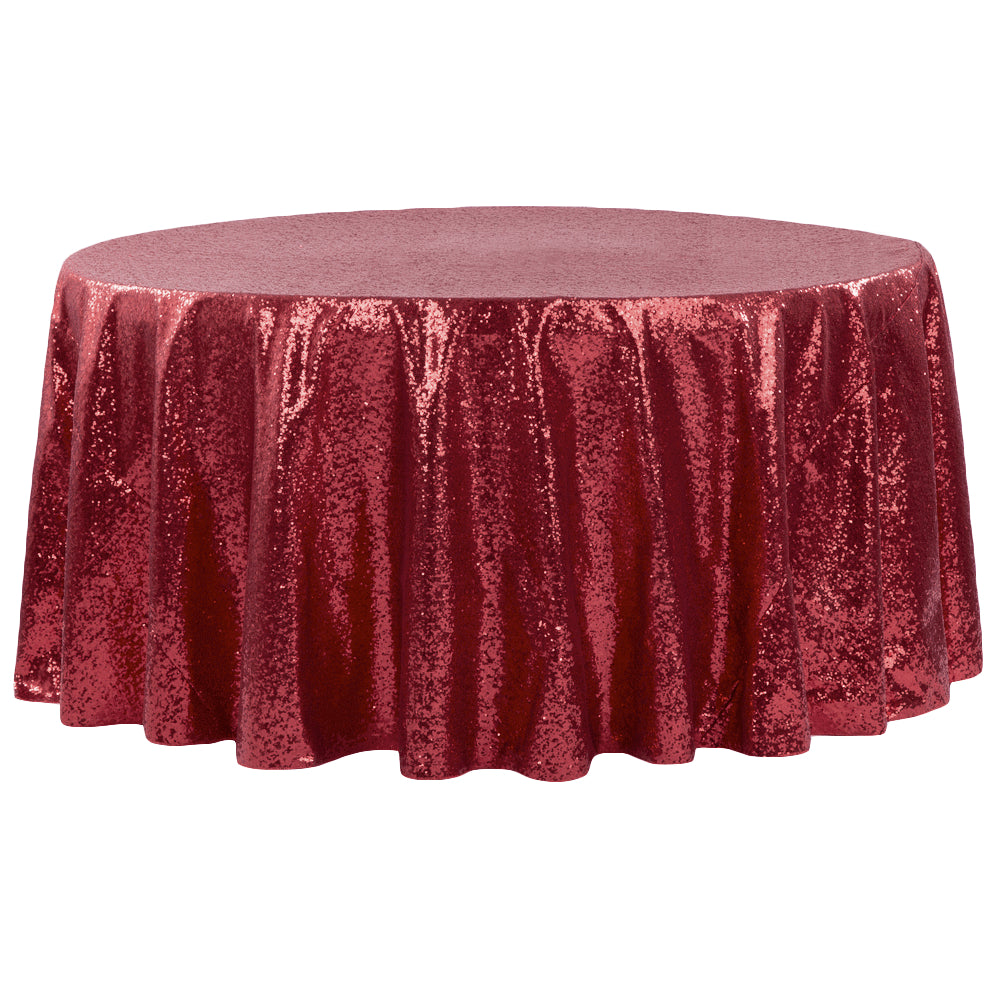 "Glitz Sequins 120"" Round Tablecloth - Burgundy"