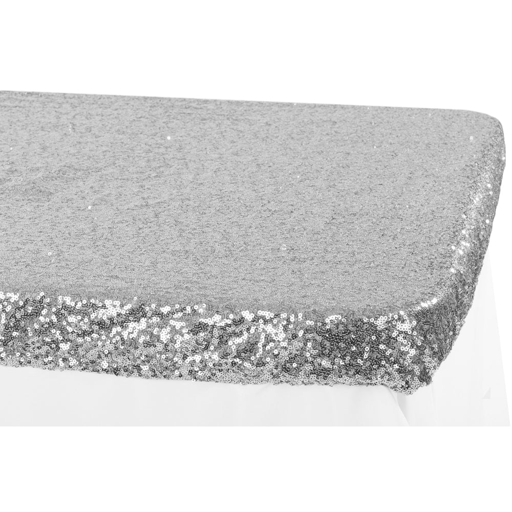 Glitz Sequin Table Topper/Cap 6 FT Rectangular - Silver