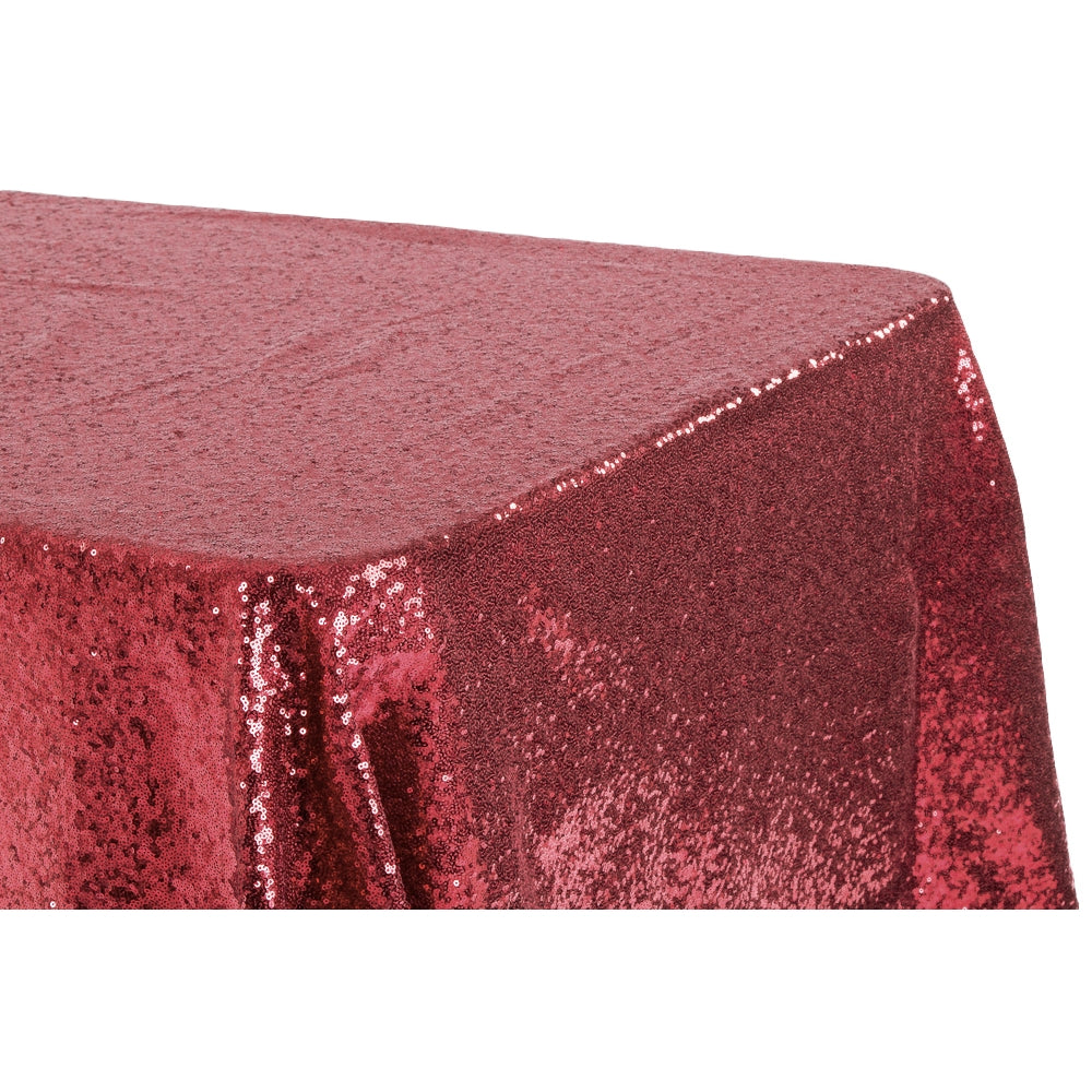 "Glitz Sequin 90""x156"" Rectangular Tablecloth - Burgundy"