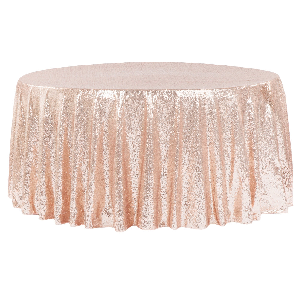 "Glitz Sequins 132"" Round Tablecloth - Blush/Rose Gold"