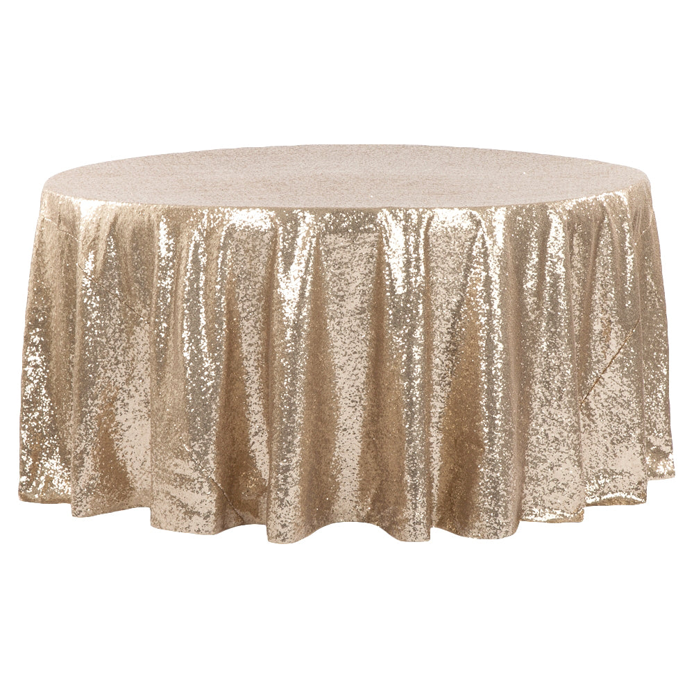 "Glitz Sequins 132"" Round Tablecloth - Champagne"