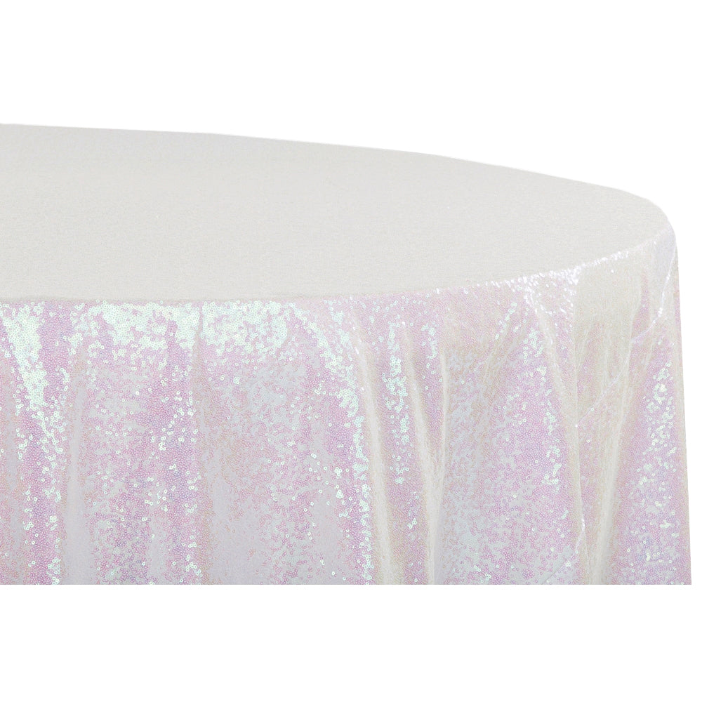 "Glitz Sequins 120"" Round Tablecloth - Iridescent White"