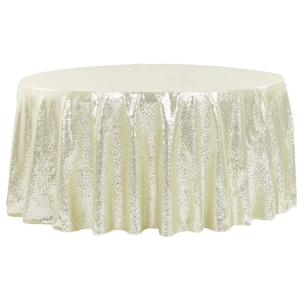 "Glitz Sequins 132"" Round Tablecloth - Ivory"