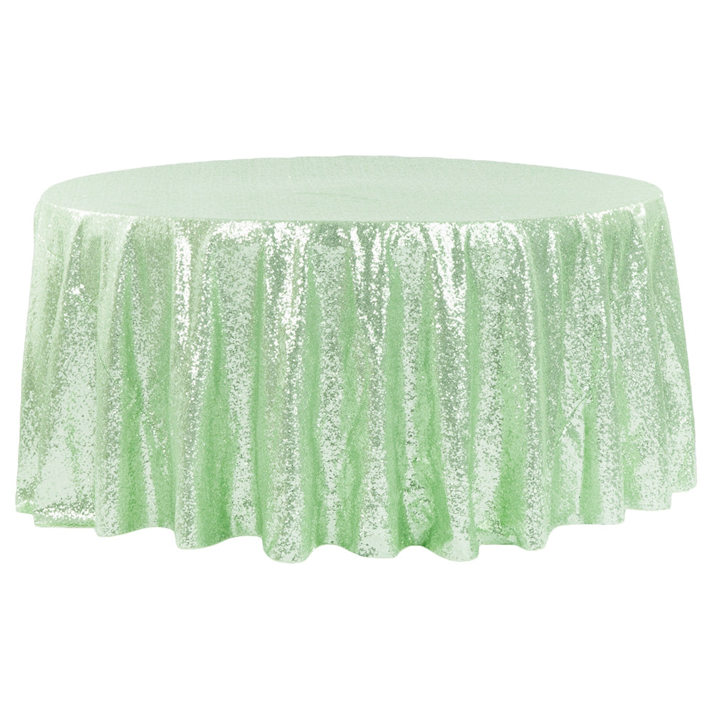 "Glitz Sequins 120"" Round Tablecloth - Mint Green"