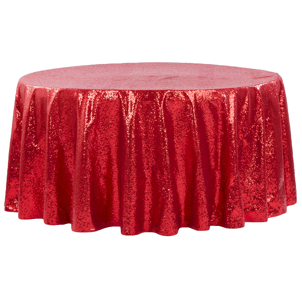 "Glitz Sequins 132"" Round Tablecloth - Red"