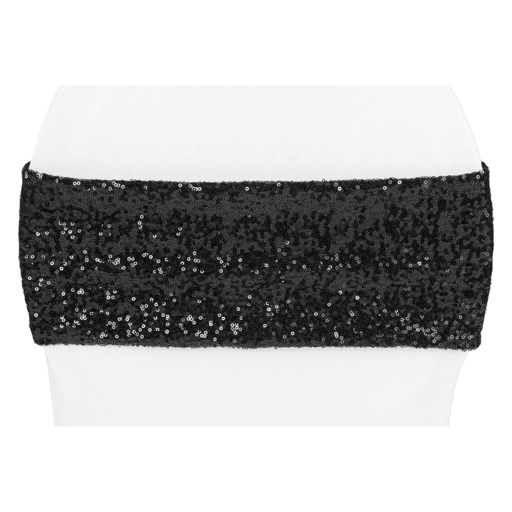 Glitz Sequin Spandex Chair Band - Black