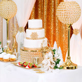 "Crystal 14"" Round Cake Stand - Gold Plated"