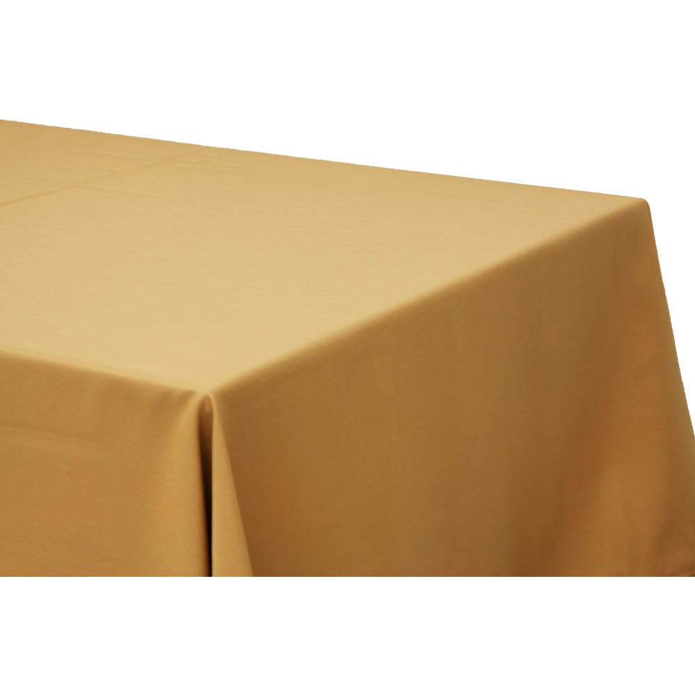 "90""x156"" Rectangular Oblong Polyester Tablecloth - Gold"