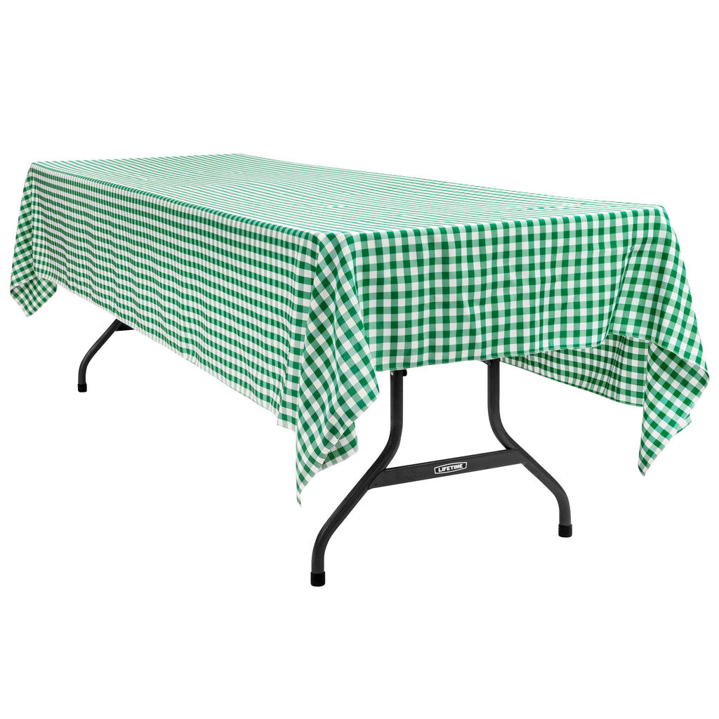 "Gingham Checkered Rectangular Polyester Tablecloth 60""x120"" - Green & White"