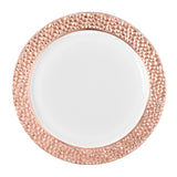 "Hammered Plastic Dinner Plates 10.25"" Large (10/pk) - Rose Gold (Clearance)"