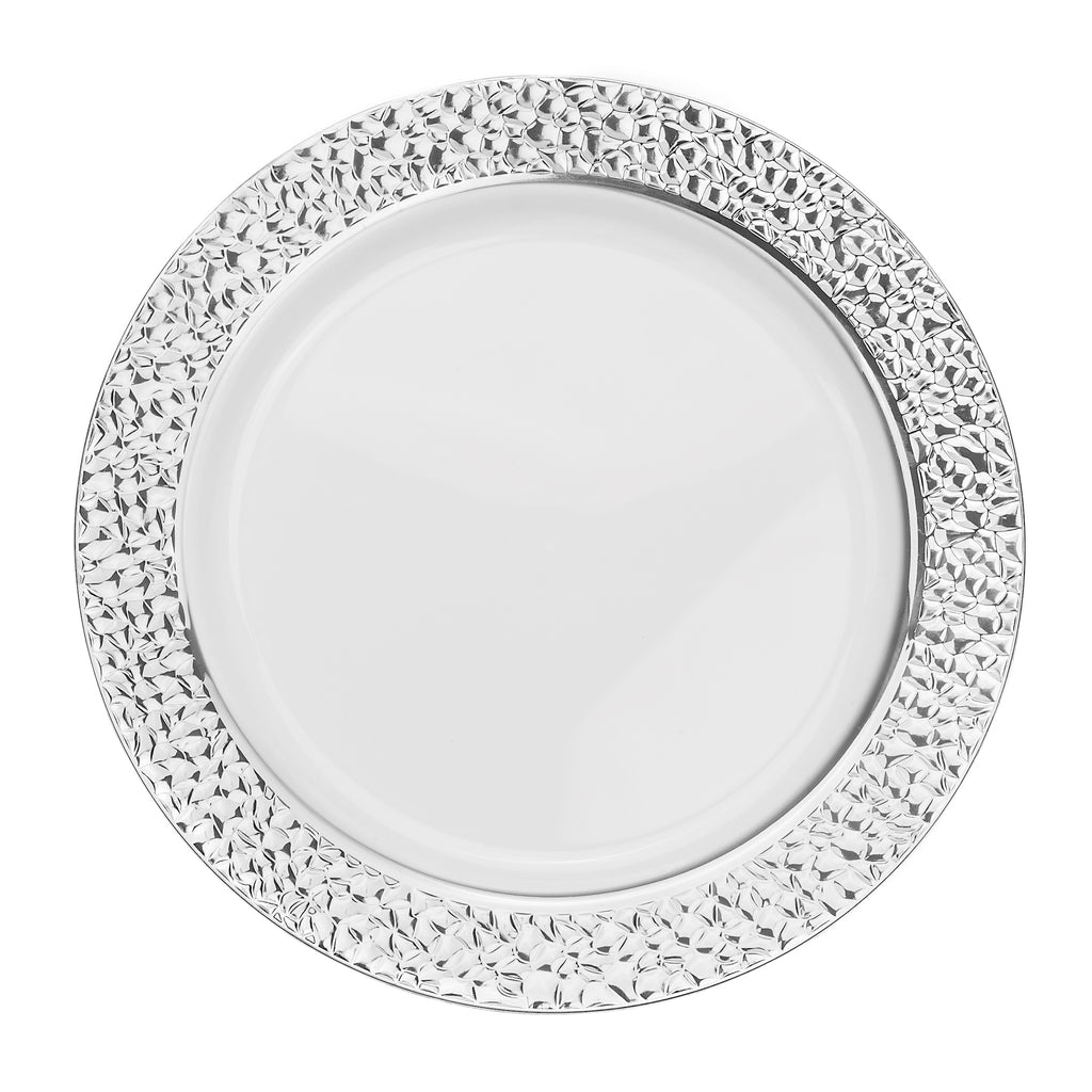 "Hammered Plastic Dinner Plates 10.25"" Large (10/pk) - Silver"