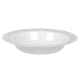 "Lace Plastic Disposable Soup Bowls 7.5"" (10/pk) - White Silver-Trimmed"