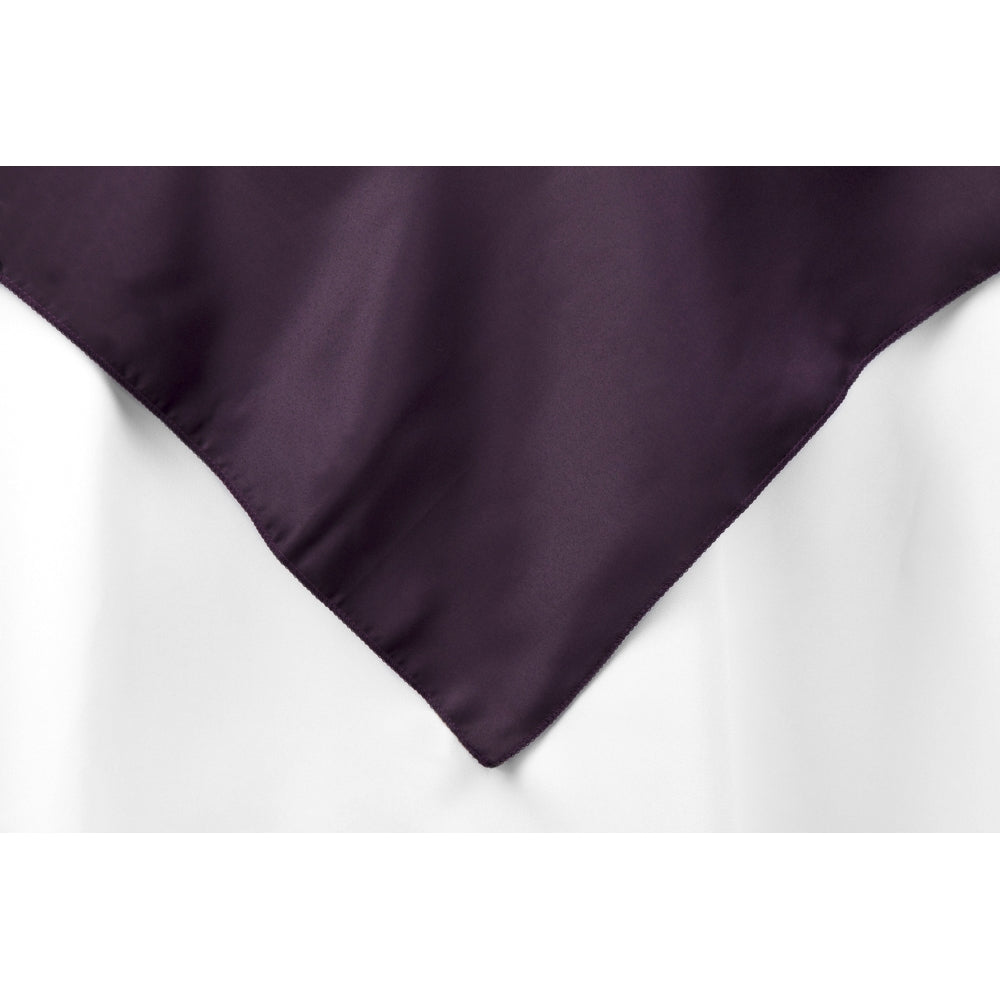 "Square 72"" Lamour Satin Table Overlay - Eggplant/Plum"