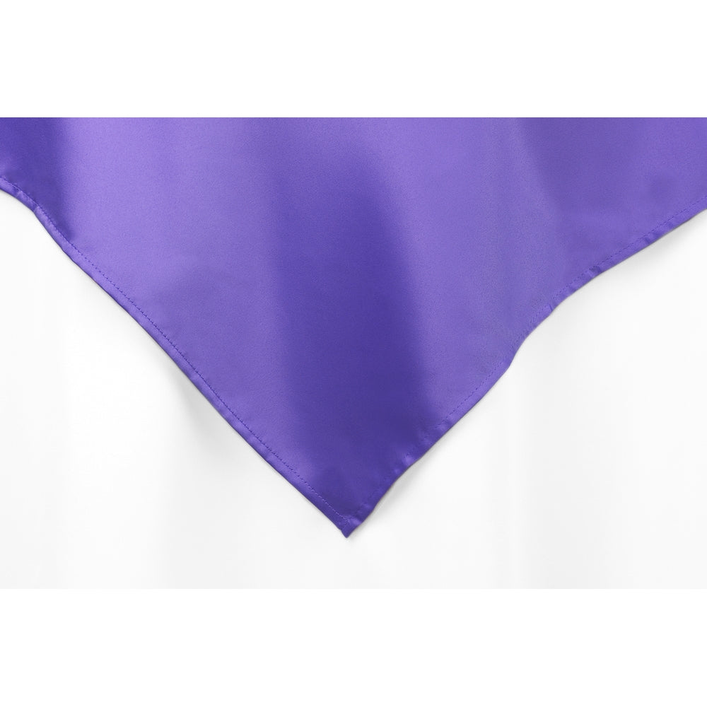 "Square 72"" Lamour Satin Table Overlay - Purple"