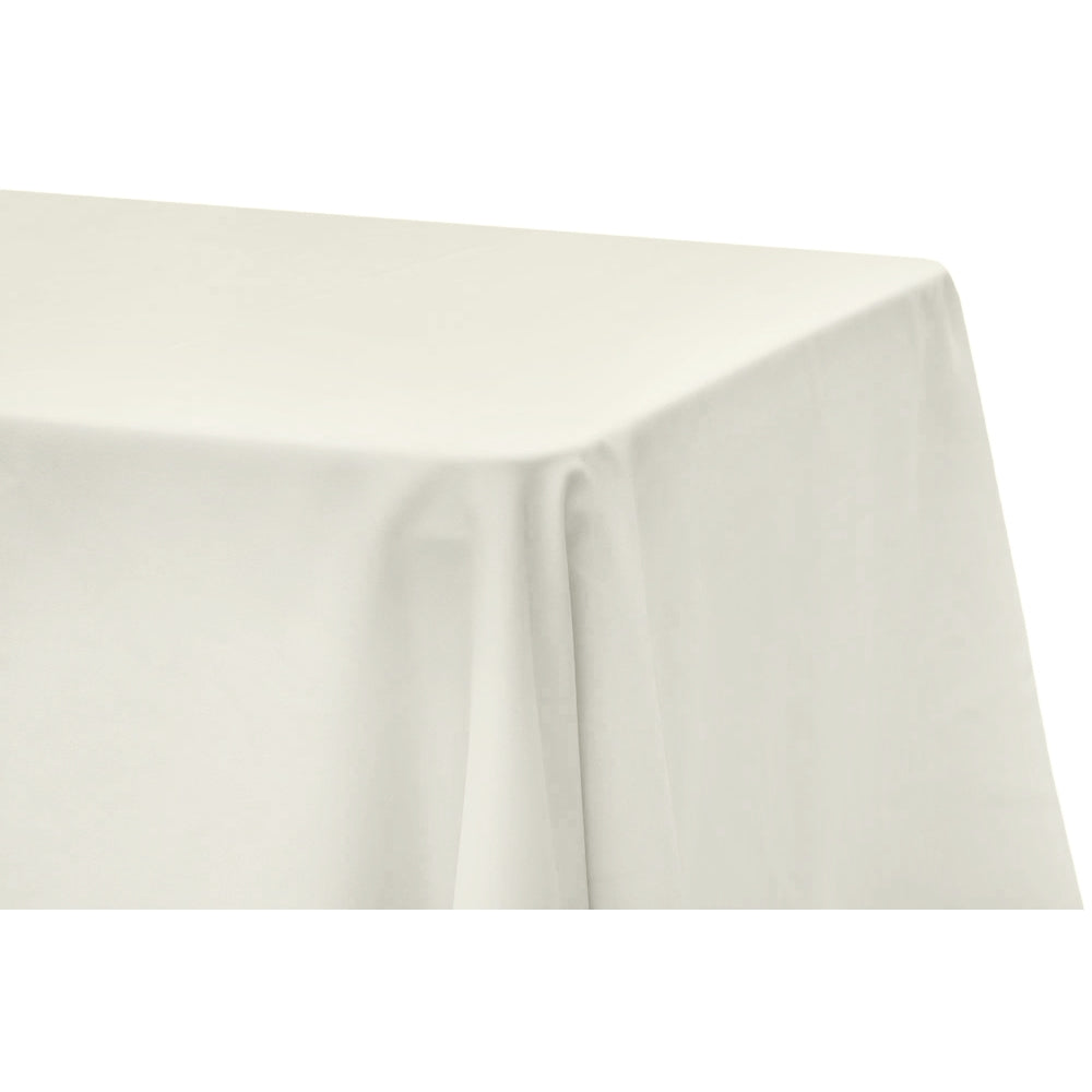 "Lamour Satin 90""x132"" Rectangular Oblong Tablecloth - Ivory"