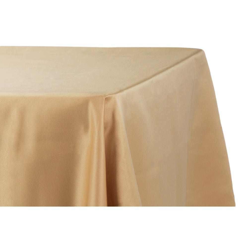 "Lamour Satin 90""x132"" Rectangular Oblong Tablecloth - Gold Antique"