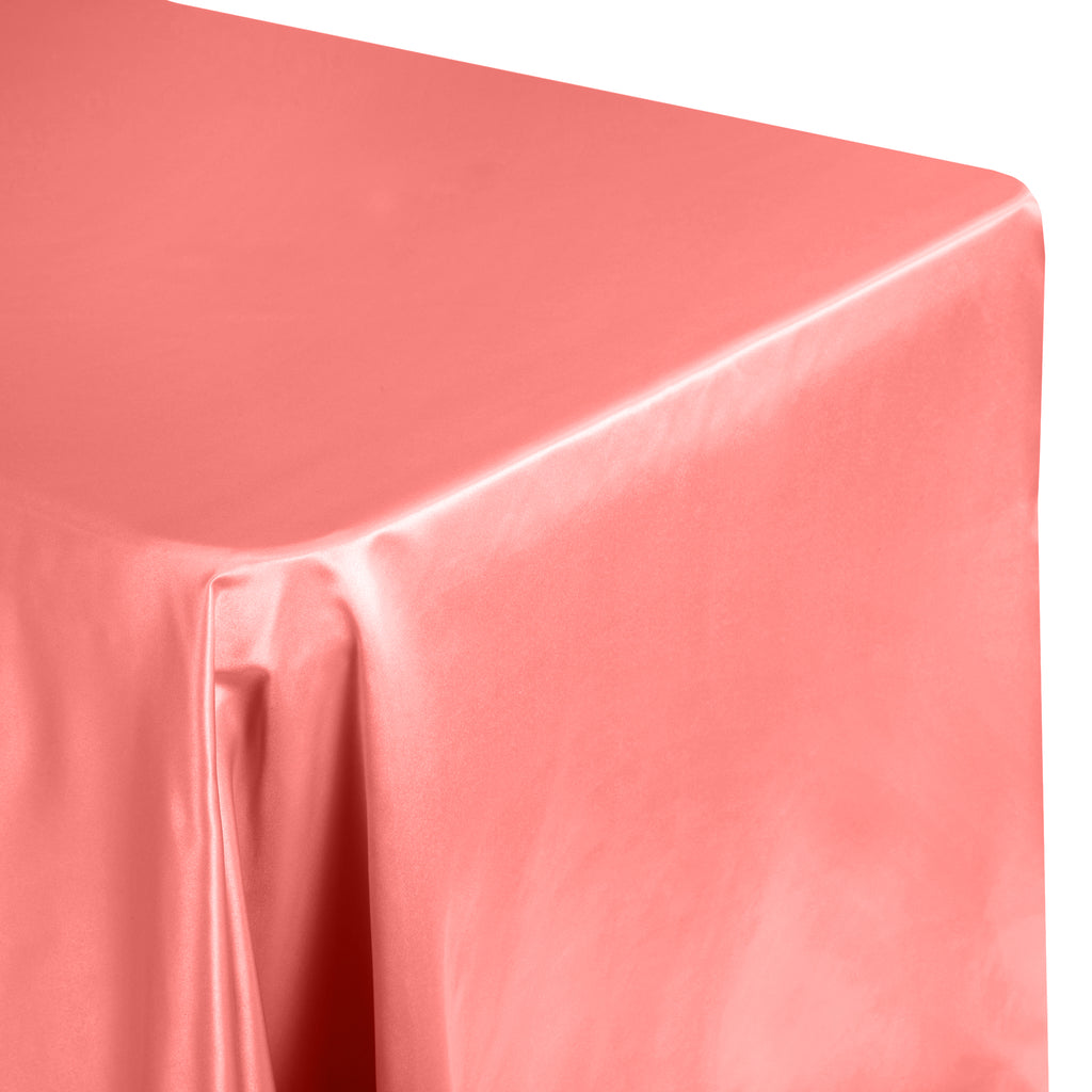 "Lamour Satin 90x156"" Rectangular Oblong Tablecloth - Coral"