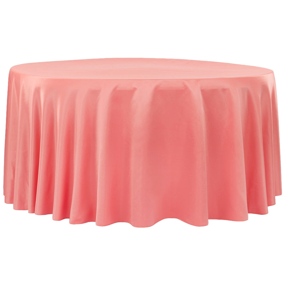 "Lamour Satin 120"" Round Tablecloth - Coral"