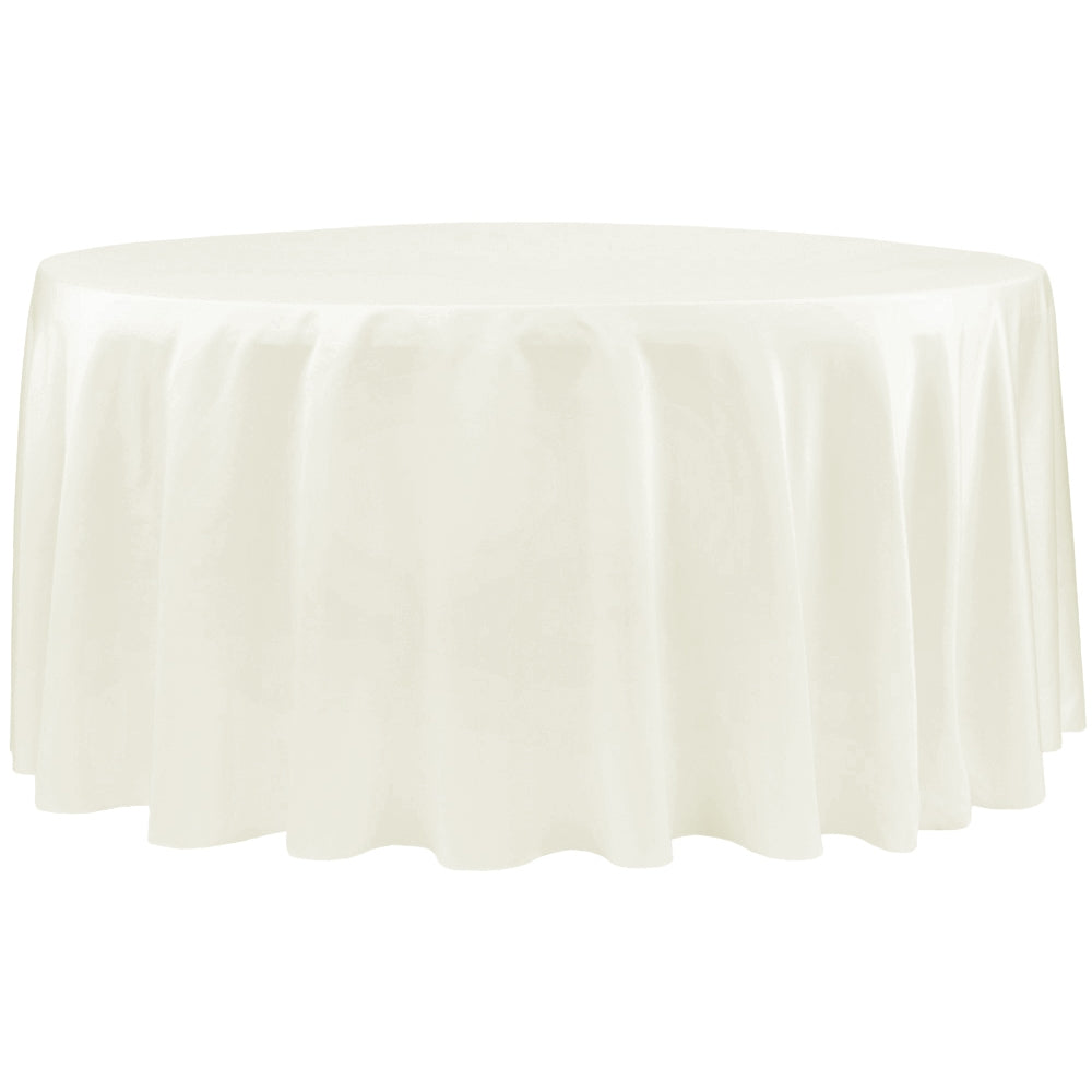 "Lamour Satin 132"" Round Tablecloth - Ivory"