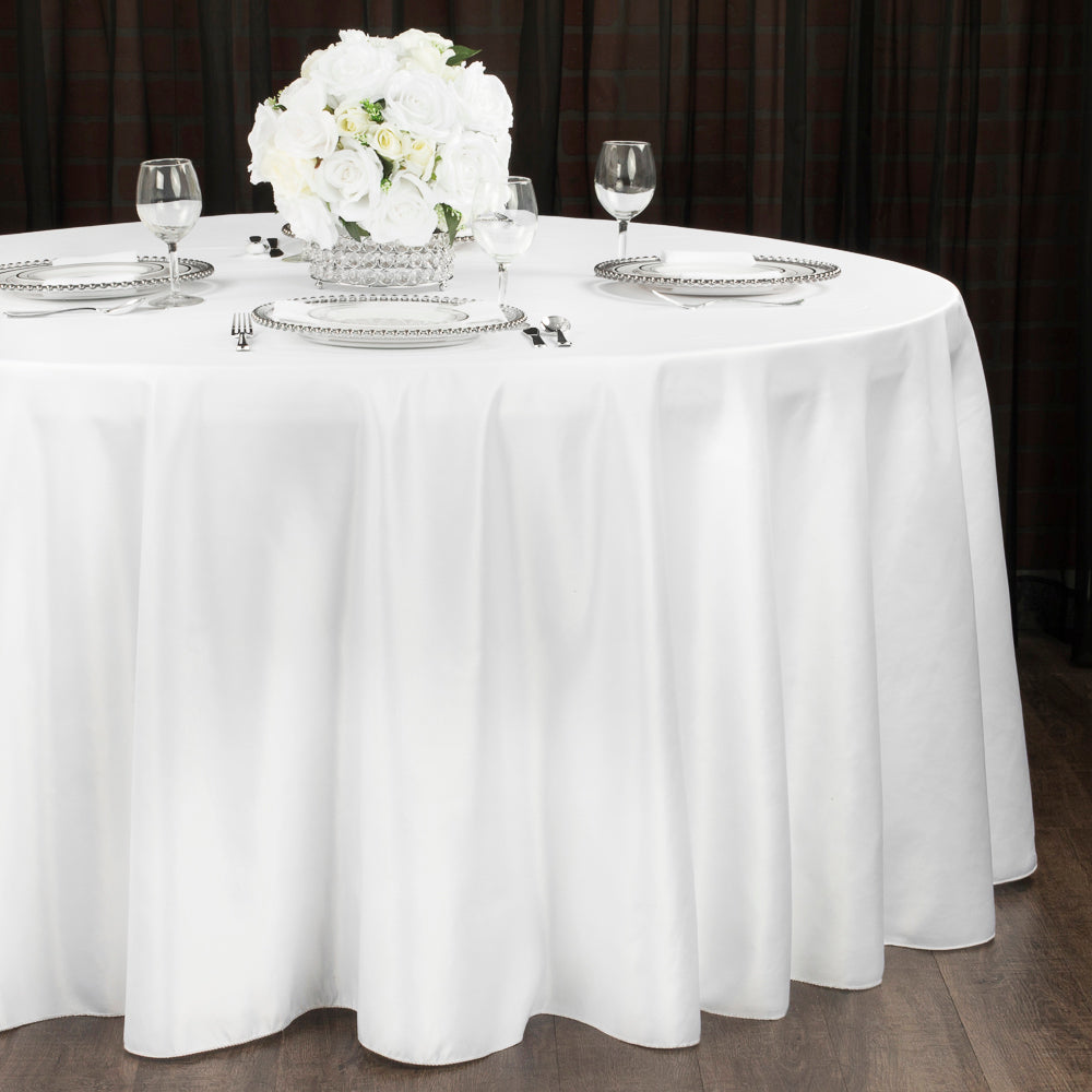 "Lamour Satin 120"" Round Tablecloth - White"
