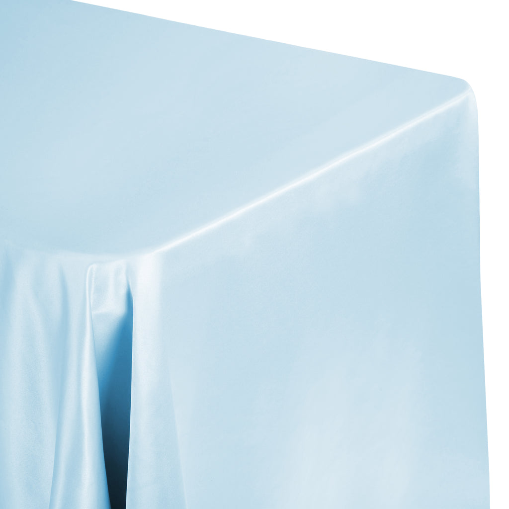 "Lamour Satin 90""x132"" Rectangular Oblong Tablecloth - Baby Blue"
