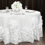 "Large Rosette Flower Tablecloth 108"" Round - White"