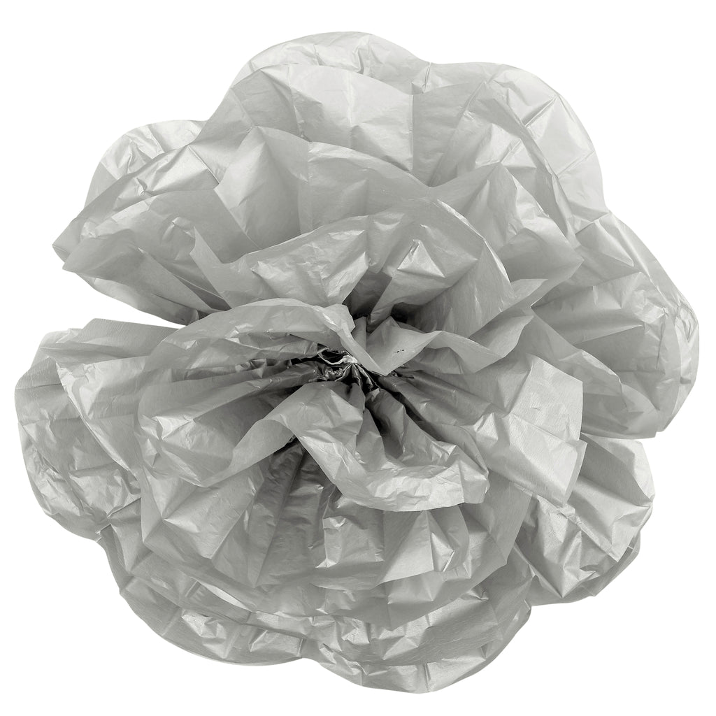Large Paper Rose Flower Tissue Wall Backdrop/Chairs 50cm - Silver