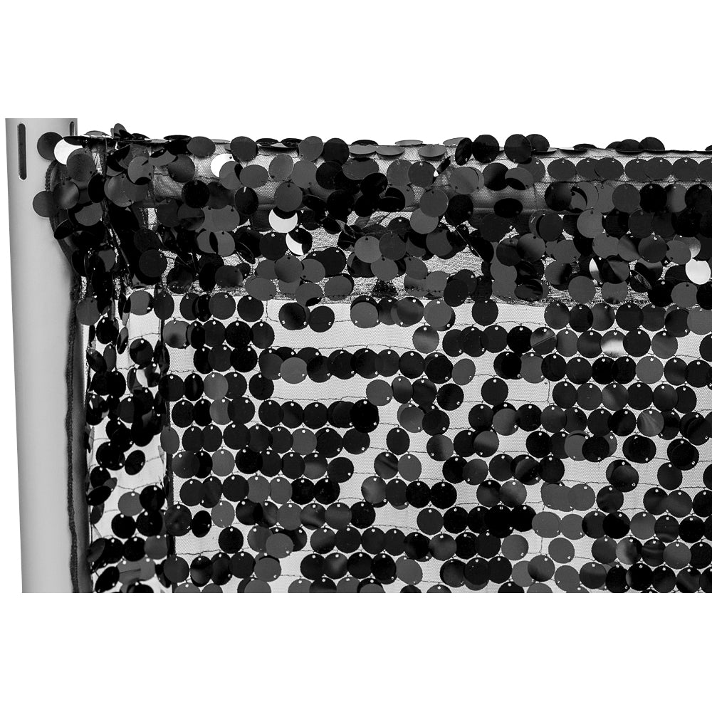 "Large Payette Sequin 10ft H x 52"" W Drape/Backdrop panel - Black"
