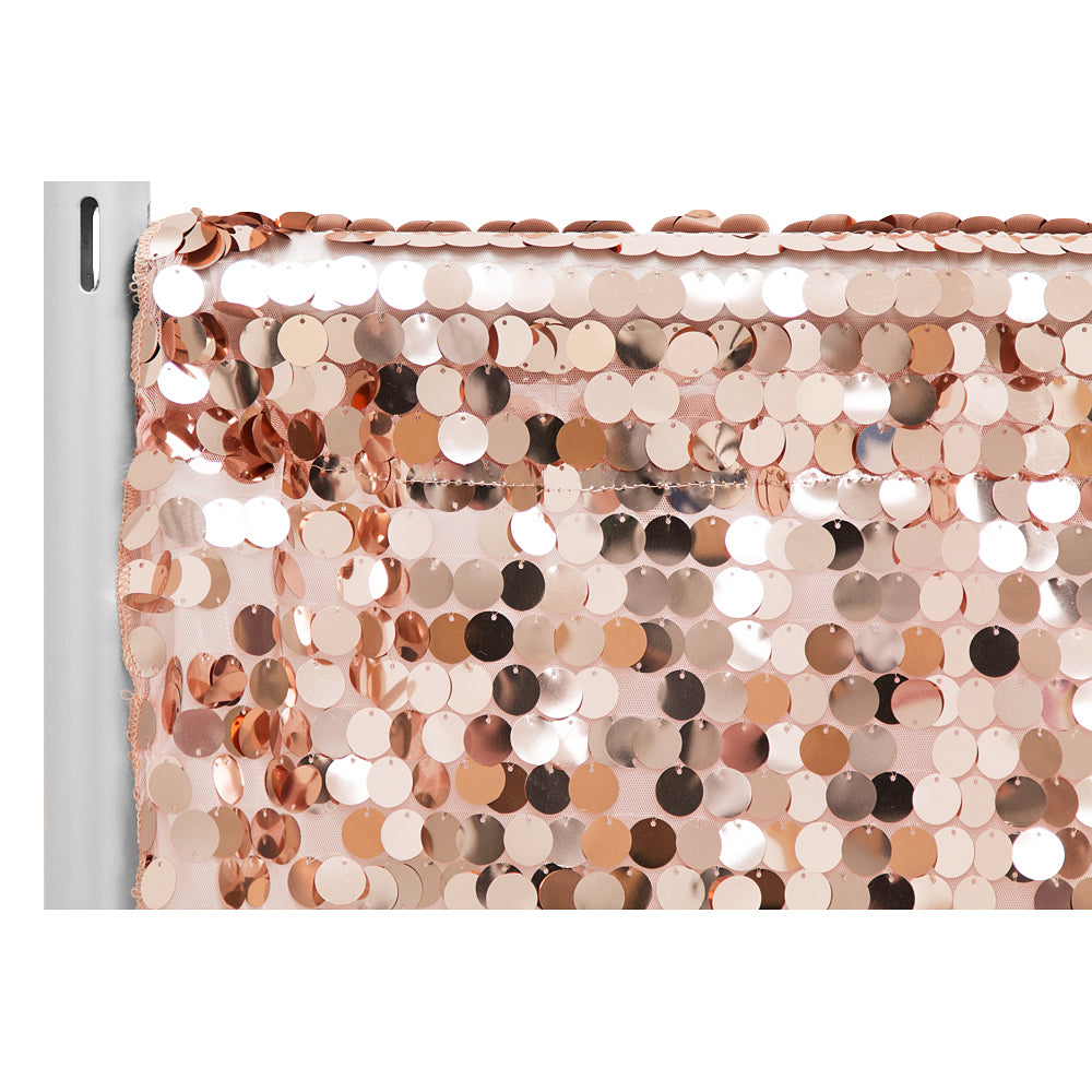 "Large Payette Sequin 10ft H x 52"" W Drape/Backdrop panel - Blush/Rose Gold"