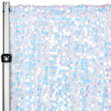 "Large Payette Sequin 10ft H x 52"" W Drape/Backdrop panel - Iridescent White"