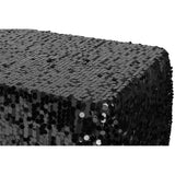 "Large Payette Sequin Tablecloth 90""x132"" Rectangular - Black"