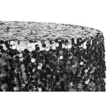 "Large Payette Sequin Round 120"" Tablecloth - Black"