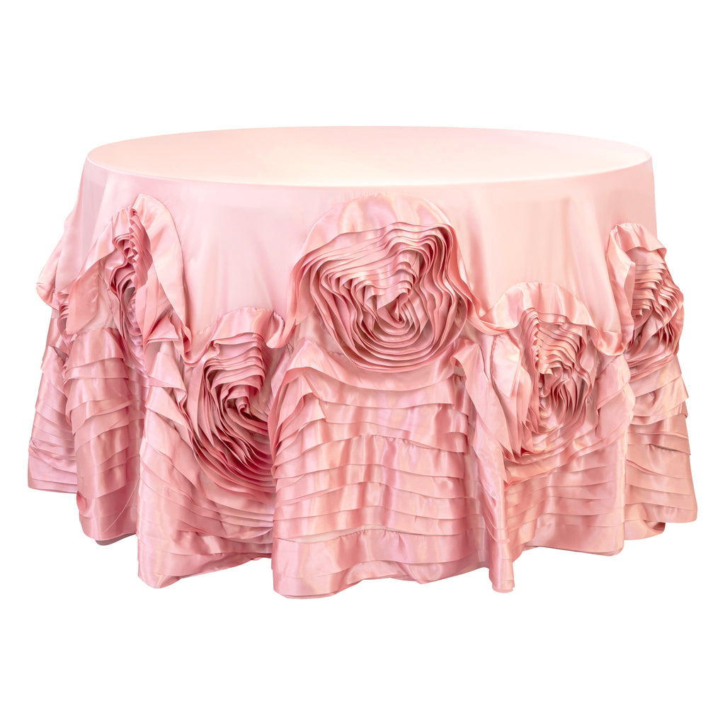 "Large Rosette Flower Tablecloth 120"" Round - Dusty Rose/Mauve"