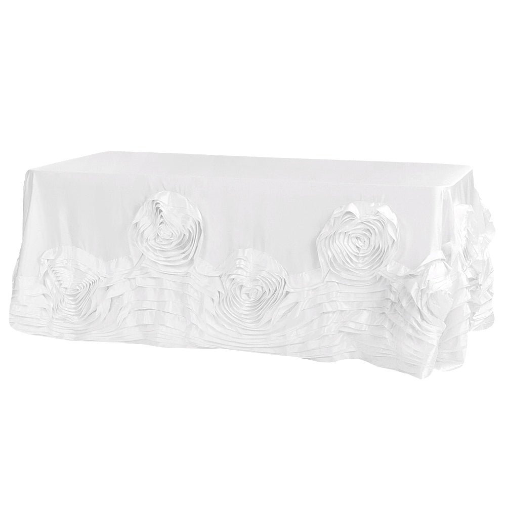 "Large Rosette Flower Tablecloth 90""x132"" Oblong Rectangular - White"