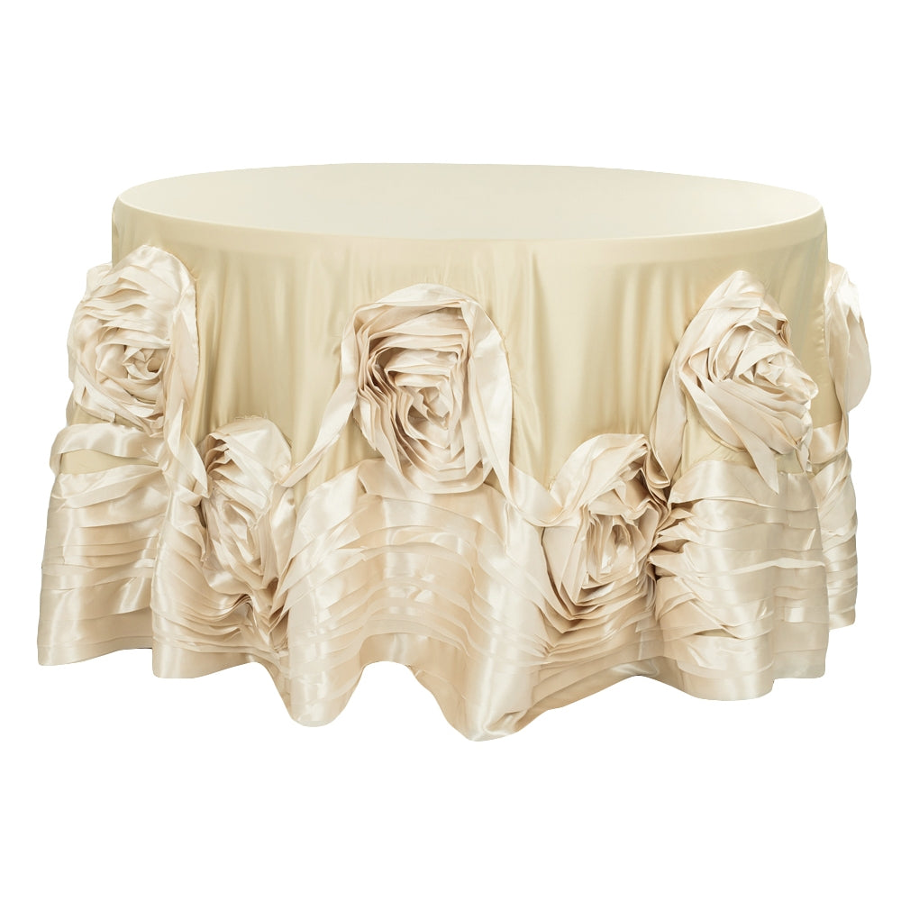 "Large Rosette Flower Tablecloth 120"" Round - Champagne"