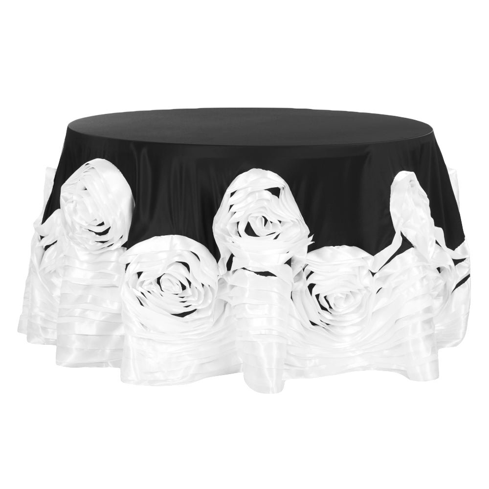 "Large Rosette Flower Tablecloth 120"" Round - Black & White"