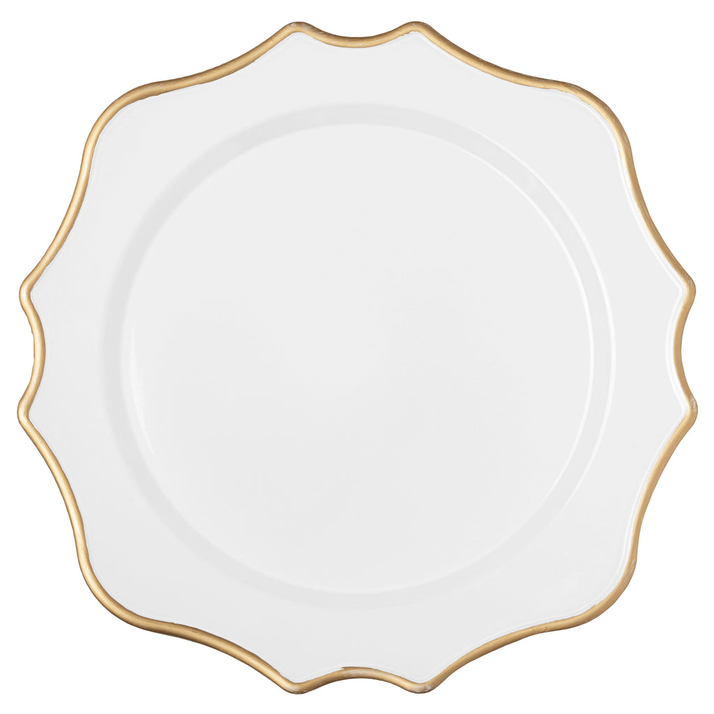 Lotus Scalloped Acrylic 13 Charger Plate White Gold Trimmed Cv Linens