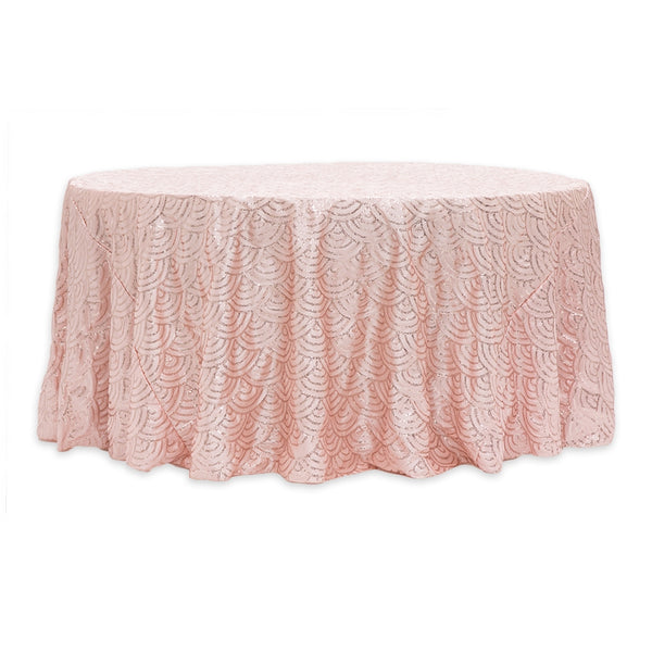 Mermaid Scale Sequin 120 Round Tablecloth Blush Rose Gold Cv Linens
