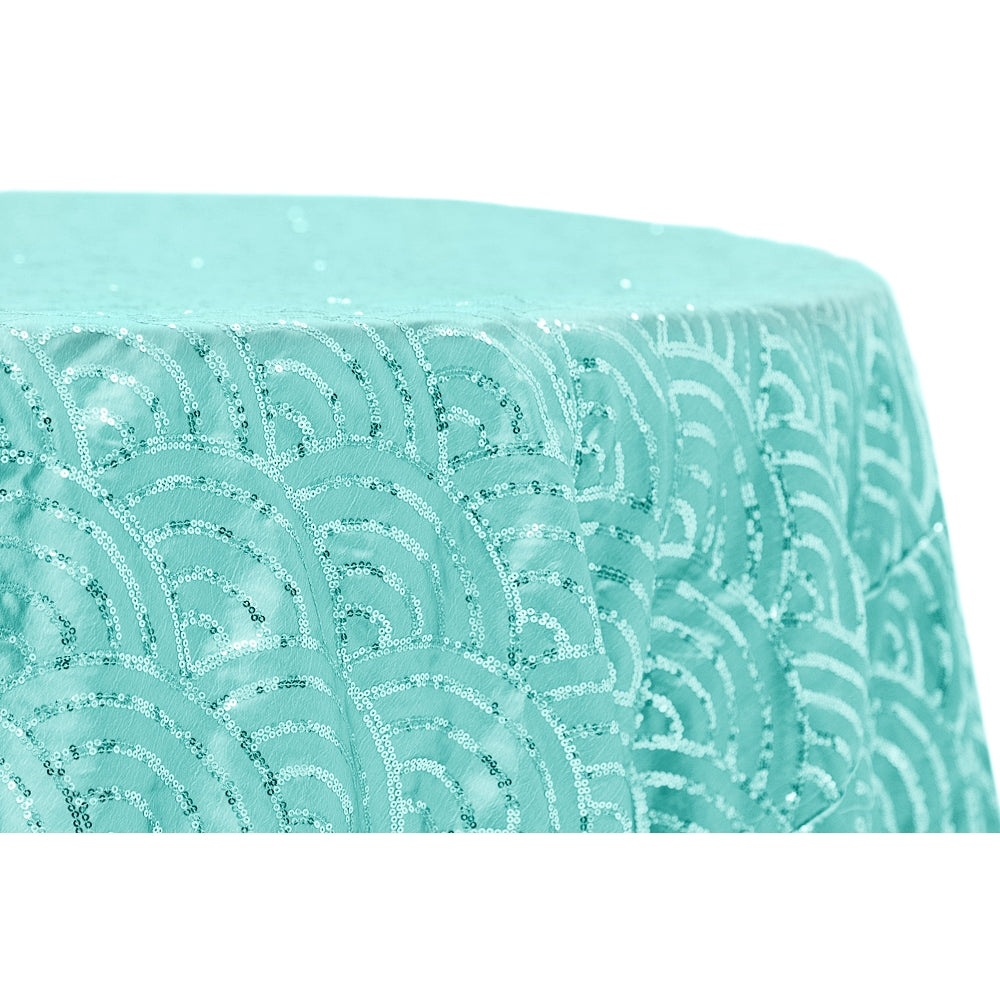 "Mermaid Scale Sequin 120"" Round Tablecloth - Turquoise"