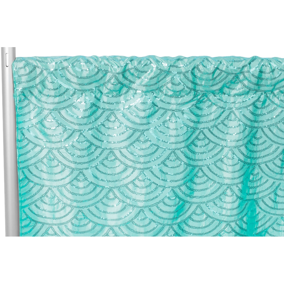 "Mermaid Scale Sequin 8ft H x 52"" W Drape/Backdrop panel - Turquoise"