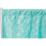 "Mermaid Scale Sequin 10ft H x 52"" W Drape/Backdrop panel - Turquoise"