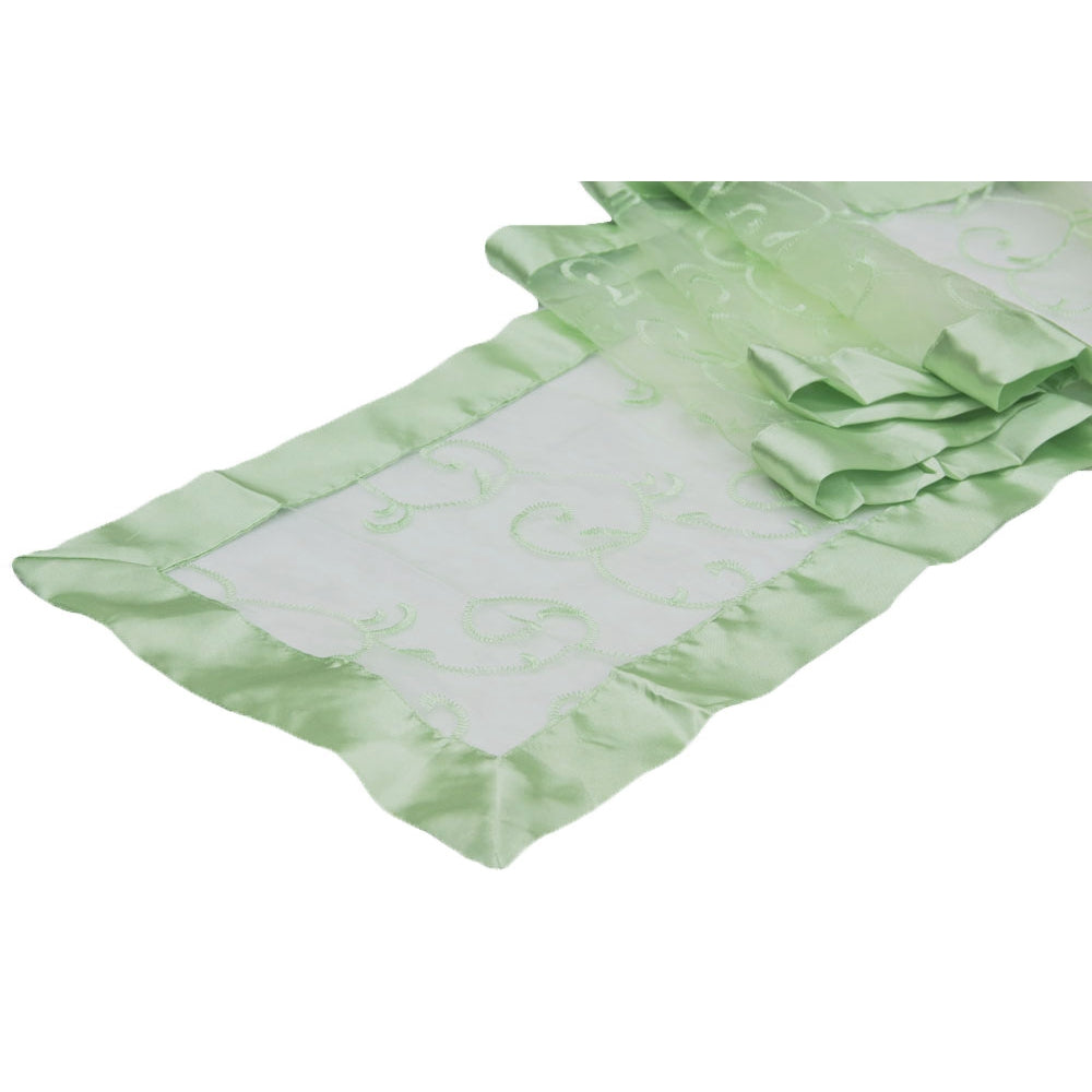 Swirl Embroidery Table Runner - Mint Green (Clearance)