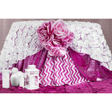 "Petal Circle Taffeta 90""x90"" Square Table Overlay - Fuchsia"