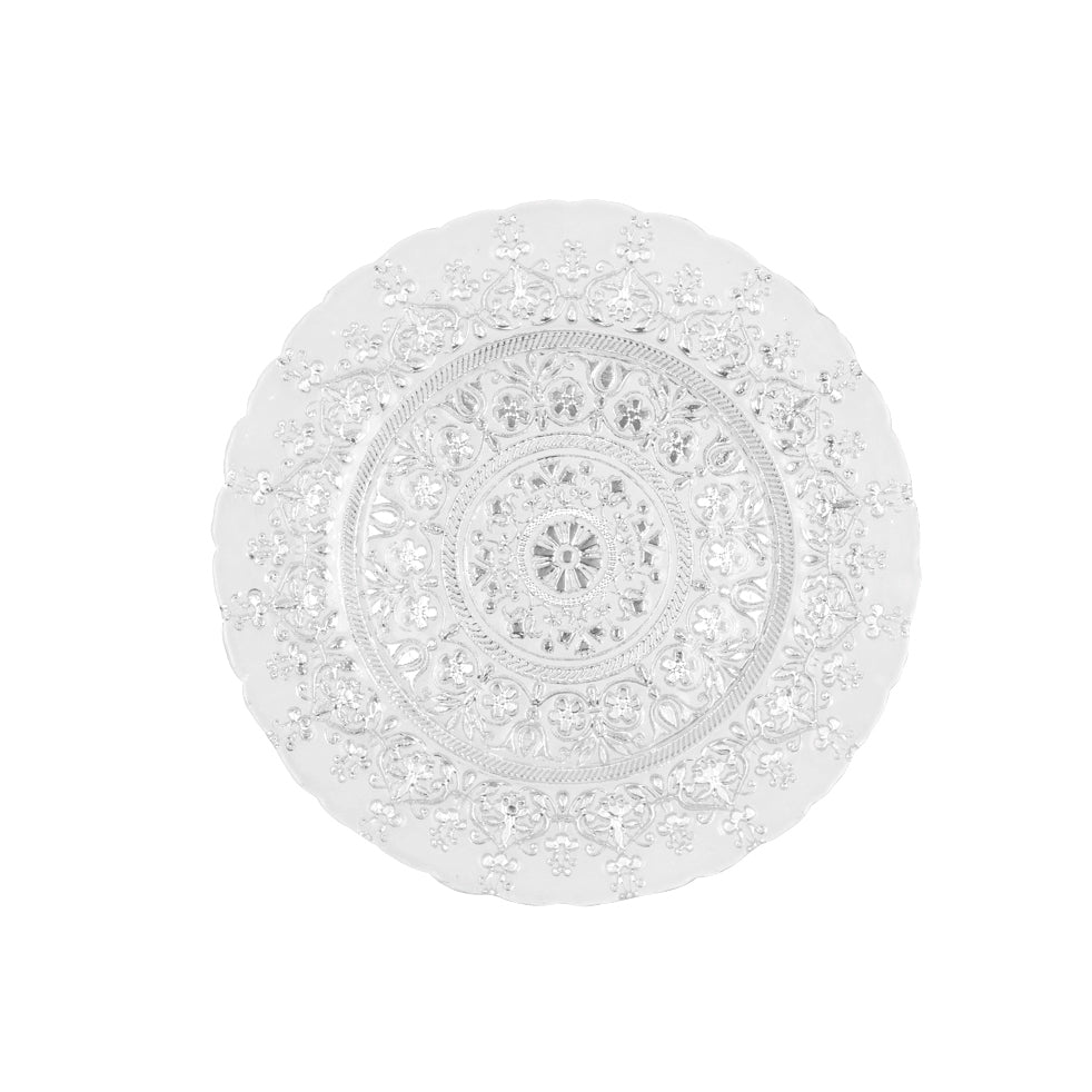 Monaco Glass Charger Plate - Silver & White