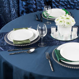 "Polyester 108"" Round Tablecloth - Navy Blue"