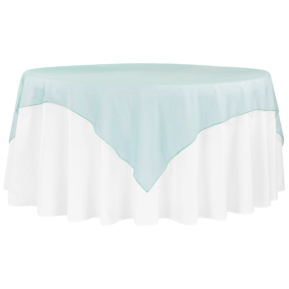 organza 72 inch square overlay dark turquoise at cv linens